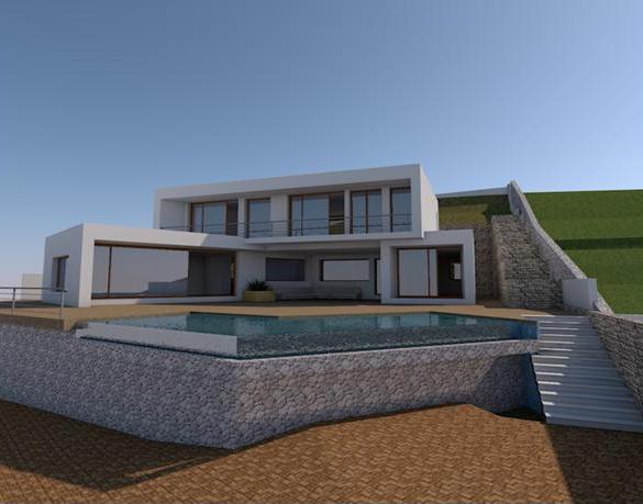 Villa de obra nueva con estilo moderno